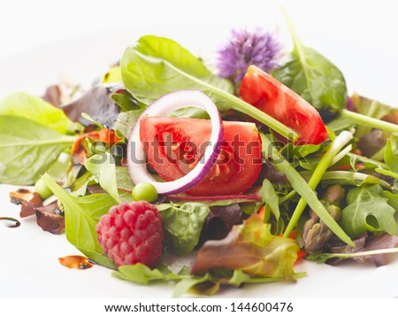 Close up of mixed fruit and vegetable salad. Shallow focus. - stock photo
