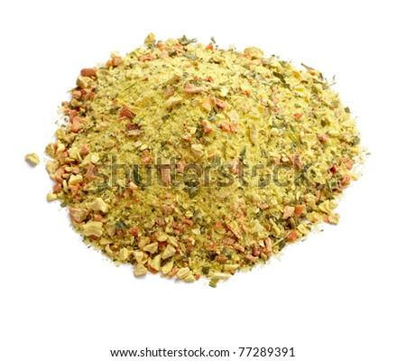 close up of mixed seasoning on white background - stock photo