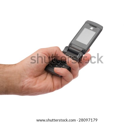 Close up of mobile telephone in hand