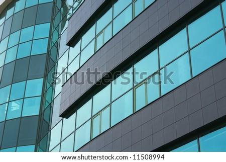 Close-up of modern building in office district. - stock photo