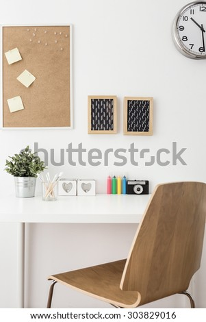 Close-up of modern creative workspace at home - stock photo