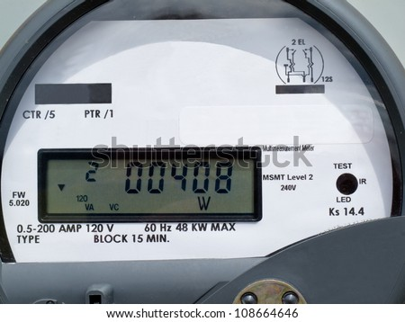 Close-up of modern smart grid residential digital power supply meter - stock photo