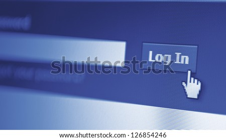 close-up of monitor screen and log in button displayed - stock photo