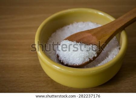 Close up of monosodium glutamate in bowl - stock photo