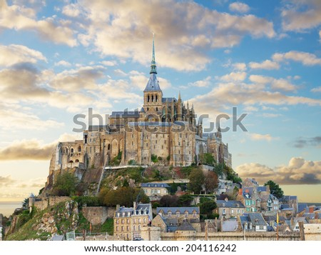 close up of Mont Saint Michel on sunset,  France - stock photo