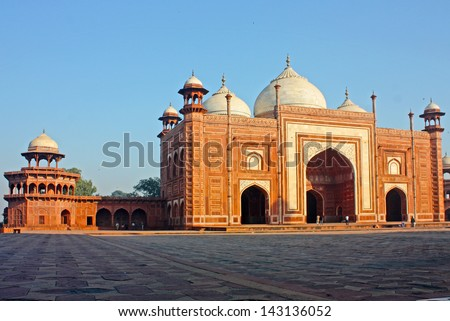 Close up of Mosque in Taj Mahal, India - stock photo