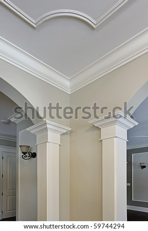Close up of moulding in new construction home - stock photo