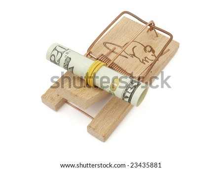 close up of mousetrap and dollars  on white background with clipping path - stock photo