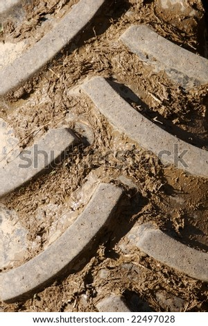 Close Up of Muddy Tractor Tire - stock photo