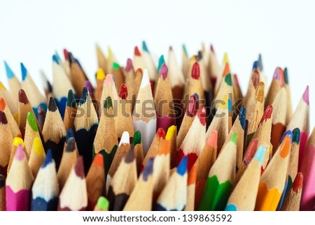 Close-up of multicolored crayon tips, colored pencils, row, art, crayon, color, pen, yellow, drawing, sharp, bunch, pencil, bright, writing, creative, pastel, draw, school, vibrant, image, creativity - stock photo