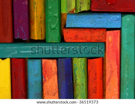 Close up of multicolored Oil pastels - stock photo
