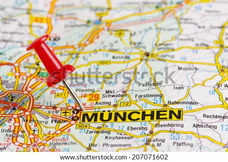 Close Munchen Map Red Pin Stock Photo Royalty Free 207071602