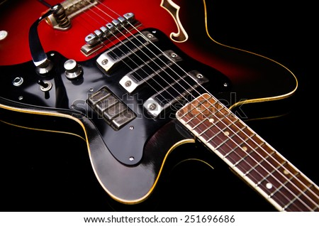 Close up of music guitar - stock photo