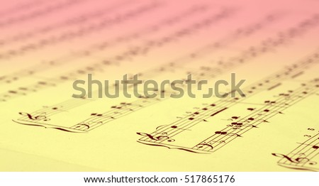 Close up of Music score background : piano notes