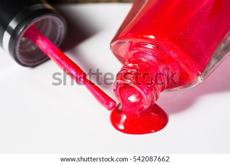 close up of nail Polish drop on white background