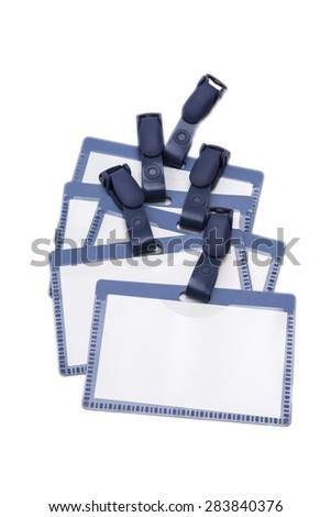 close up of name tag identity on white background with clipping path - stock photo