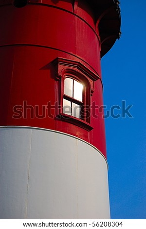 Close-up of Nauset Lighthouse in North Eastham, MA - stock photo