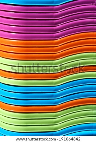 Close up of nested colorful baskets for shopping. Pure and bright colors,ductile lines, smooth surface. Good for background. - stock photo