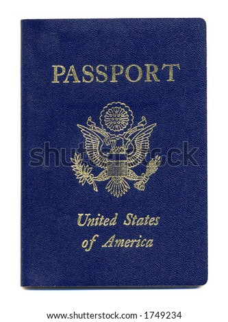 Close-up of New United States Passport Isolated on a White Background - stock photo