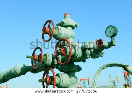 Close-up of oilfield pipeline valves 