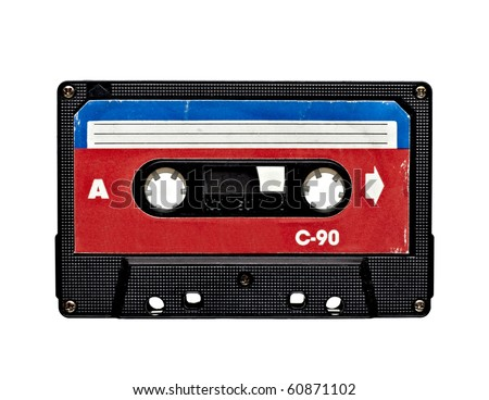 close up of old audio tape on white background - stock photo