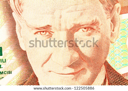 Close up of old banknote. 100,000 TL issued to honor Mustafa Kemal Ataturk who founder Turkish Republic - stock photo