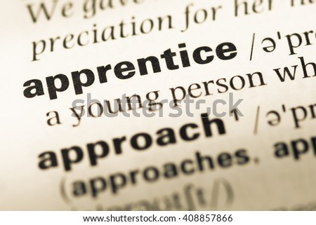 Close up of old English dictionary page with word apprentice - stock photo