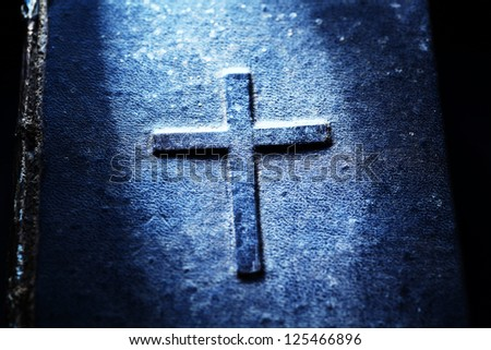 Close up of old Holy bible - stock photo