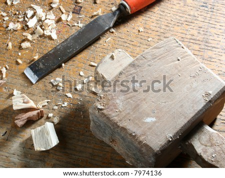 Close-up of old joinery tools on workbench