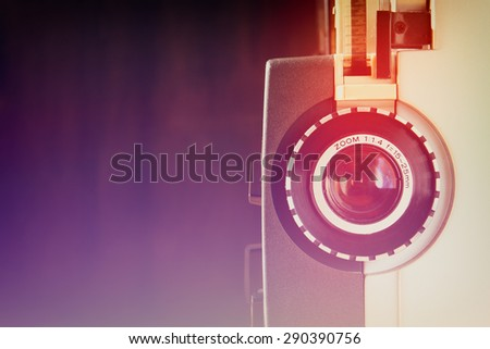 close up of old 8mm Film Projector lens  - stock photo