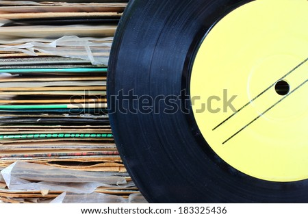 close up of old record and records stack.  - stock photo