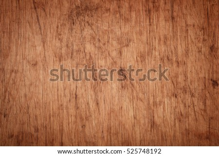 Close up of old scratched cutting board texture