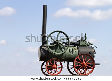Close-up of Old Steam engine - stock photo
