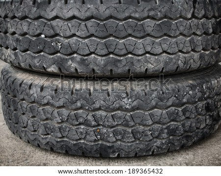 Close up of old tire