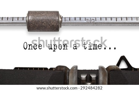 Close up of old typewriter with text Once Upon a Time - stock photo