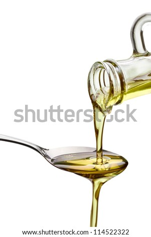 close up of olive oil on white background with clipping path