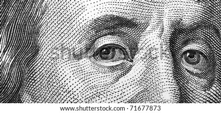 Close-up of one hundred bill Franklin portrait - stock photo