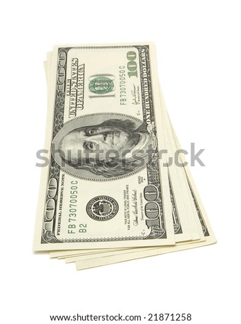 close up of  one hundred dollars bills on white background with clipping path