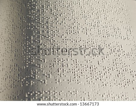 close up of one page in braille alphabet