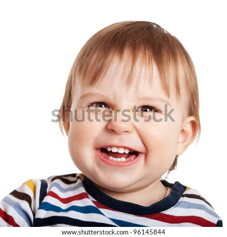 Close up of one year old child making a face, isolated on white - stock photo