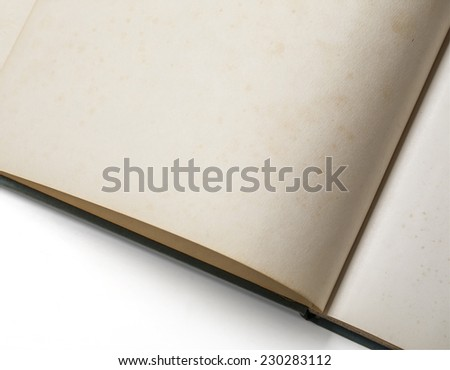 Close-up of open old book on white background, with clipping path - stock photo