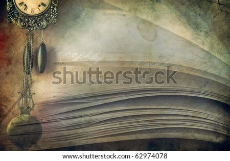 Close-up of opened book pages and clock  against vintage background - stock photo