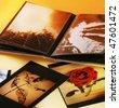 Close-up of opened photo album. - stock photo