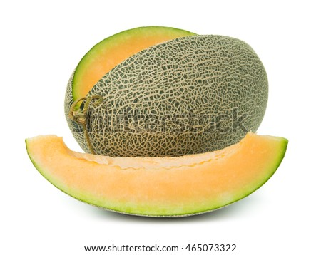 Close up of orange cantaloupe melon on white background