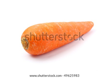 Close up of orange carrot isolated on white background.
