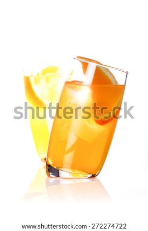 Close up of orange juice in glass