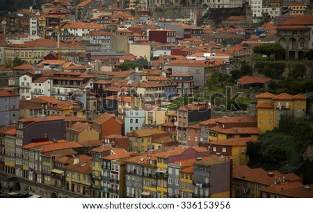 Close up of orange roof top of house of city of Porto, Portugal  - stock photo