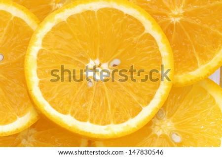 Close-up of orange slices  - stock photo