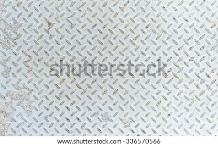 Close-up of outdoor steel utility cover with diamond plating - stock photo