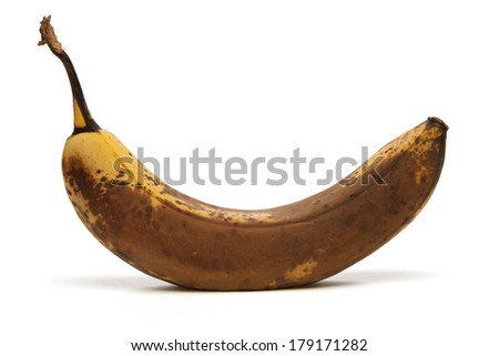 close up of over ripe Banana on white background